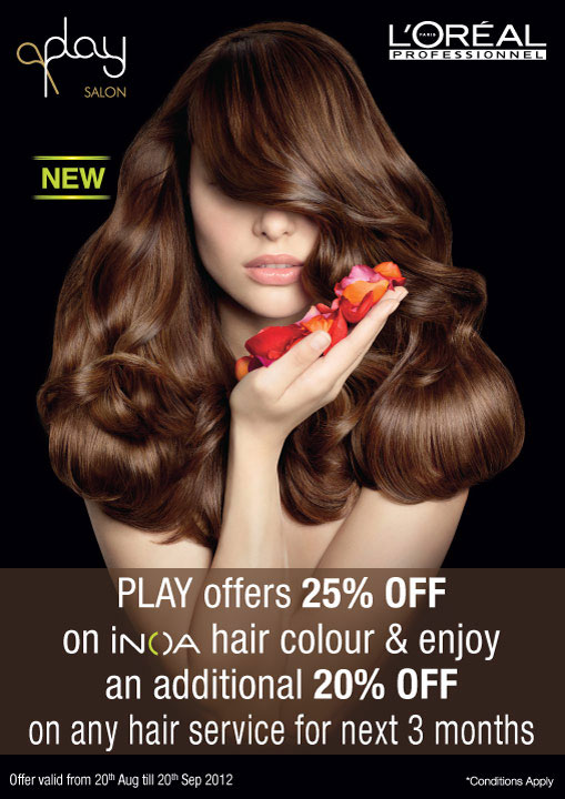 iNOA hair color offer at Play Salon Bangalore