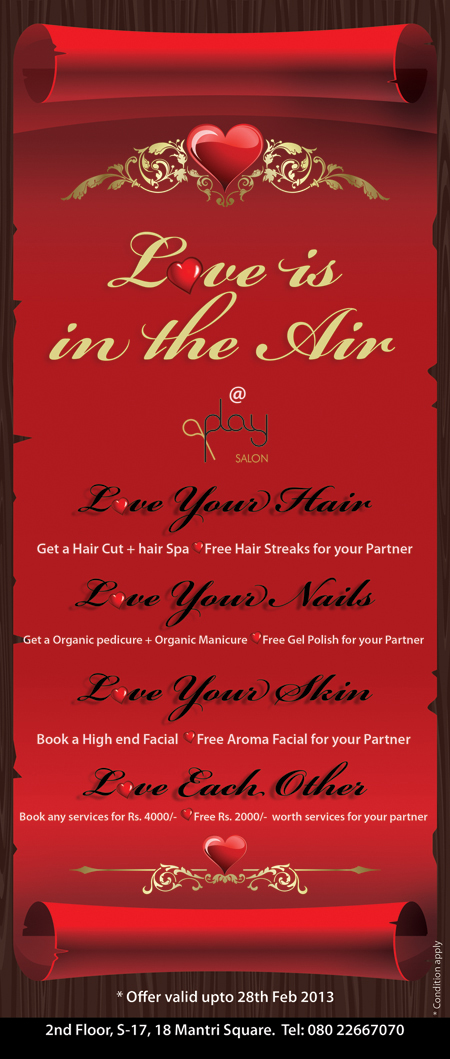 Valentine's Day Offers 2013 at Play Salon Bangalore